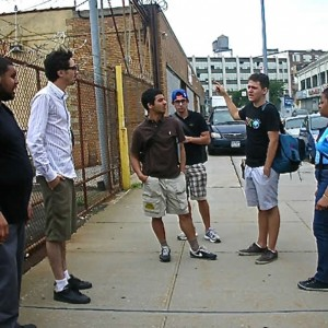 JosueLoayza instructs Jeremie Laurent, director; Breanna Fulton, second camerawoman; Brice Allouani, grip; Zak Mahmoud, script supervisor; and Brian Neris, boom operator where to meet the rest of the crew.